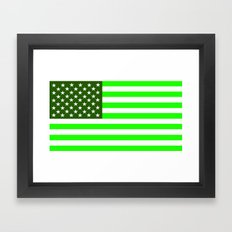 united states america green flag ecology Framed Art Print