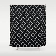 Chain Link on Black Shower Curtain