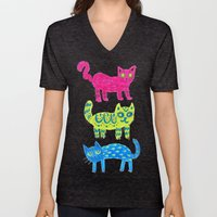 Cat Pattern Unisex V-Neck
