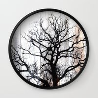 Tree Silhouette on Wood Wall Clock