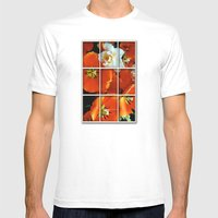 Orange And White Flowers Mens Fitted Tee White SMALL