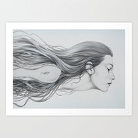 mermaid Art Prints featuring Mermaid by Diego Fernandez
