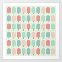 POPSICLES - BLUE Art Print