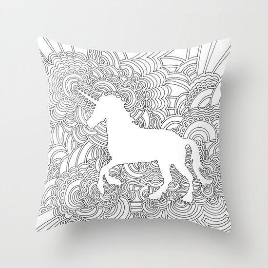 Unicorn Drawing Meditation Throw Pillow