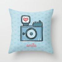 Blue Smile Throw Pillow