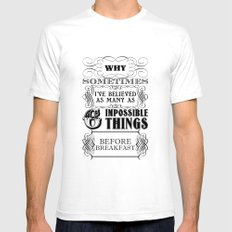 Alice in Wonderland Six Impossible Things Mens Fitted Tee White SMALL