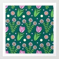 Daisies And Tulips Art Print
