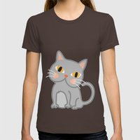 Cat Womens Fitted Tee Brown SMALL