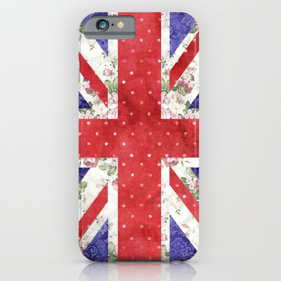 Vintage Red Polka Dots Floral UK Union Jack Flag and Blue Damask iPhone & iPod Case