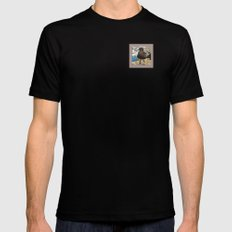 Portrait of a Grumpy Gull SMALL Black Mens Fitted Tee