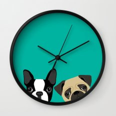B Terrier & Pug Wall Clock