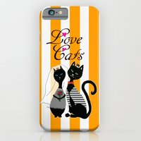 iPhone Cases featuring Love Cats Wedding by Cat Attack