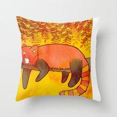 Sleepy Red Panda Throw Pillow