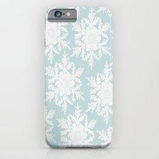 Wedgewood Blue Winter Christmas Snowflake Design iPhone 6 Slim Case