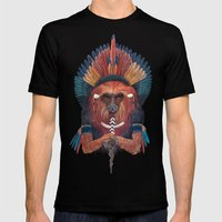 Red Fire Monkey Mens Fitted Tee Black SMALL