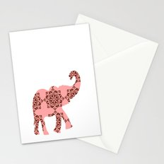 Floral Brown and Pink Elephant Stationery Cards