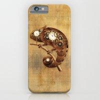 iPhone Cases featuring Steampunk Chameleon Vintage Style by BluedarkArt