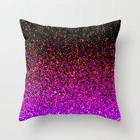 Pink Glitter Sparkle Gradient Throw Pillow