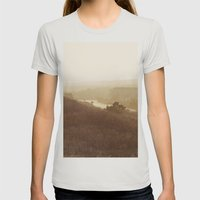 Montauk, NY Sunset Haze Womens Fitted Tee Silver SMALL