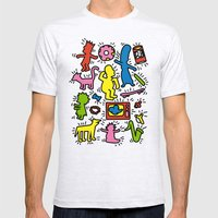 Keith Haring & Simpsons Mens Fitted Tee Ash Grey SMALL