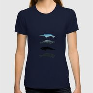 Whales Womens Fitted Tee Navy SMALL