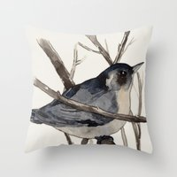 Grey Birdy 2 Throw Pillow