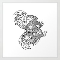 Rooster BW Art Print