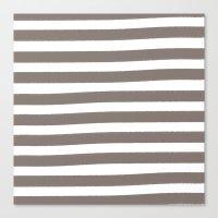 Brushy Stripes - Brown Canvas Print