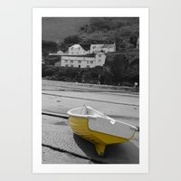 little yellow boat Art Print