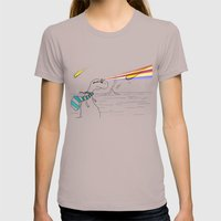 Hipster Laser Dinosaur Womens Fitted Tee Cinder SMALL