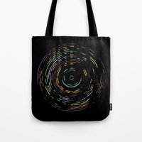 Rainbow Record On Black Tote Bag