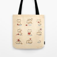 Cats and hearts Tote Bag
