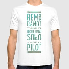 REMBRANDT AS MY RIGHT HAND SOLO AS MY PILOT SMALL White Mens Fitted Tee