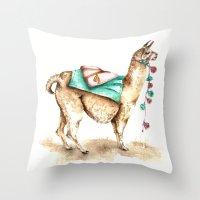 Watercolor Llama Throw Pillow