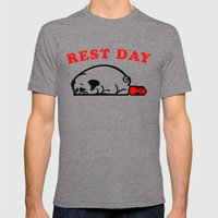 Rest Day Pug Mens Fitted Tee Tri-Grey SMALL