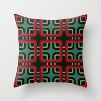 1970s pattern #1 (red & turquoise)  Throw Pillow