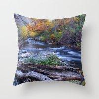 Mountain river. After raining. Night photography. Throw Pillow