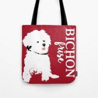Bichon Frise Dog art Tote Bag