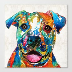 Colorful Dog Pit Bull Ar… Canvas Print