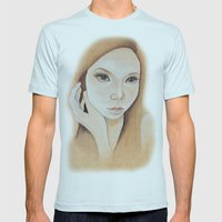 Self Portrait on Wood Mens Fitted Tee Light Blue SMALL