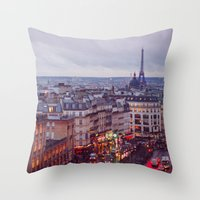 Rainy Paris. Throw Pillow