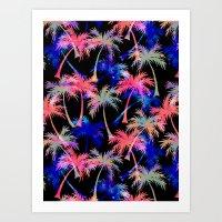 Falling Palms - Nightlight Art Print