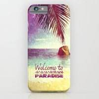 iPhone Cases featuring Welcome to Paradise - for iphone by Simone Morana Cyla