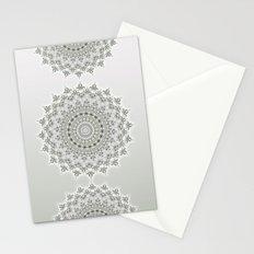 Mandala Flowers Grey Green Stationery Cards