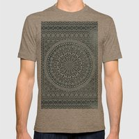 BOHO MANDALA BANDANA Mens Fitted Tee Tri-Coffee SMALL