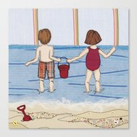 Embroidered Beach Illust… Canvas Print