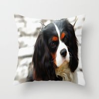 Portrait Of A King Charles Cavalier Spaniel Throw Pillow