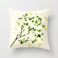 Green tickles - Botanical Print Throw Pillow