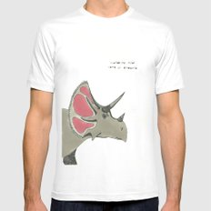 triceratops White SMALL Mens Fitted Tee
