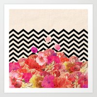 chevron Art Prints featuring Chevron Flora II by Bianca Green